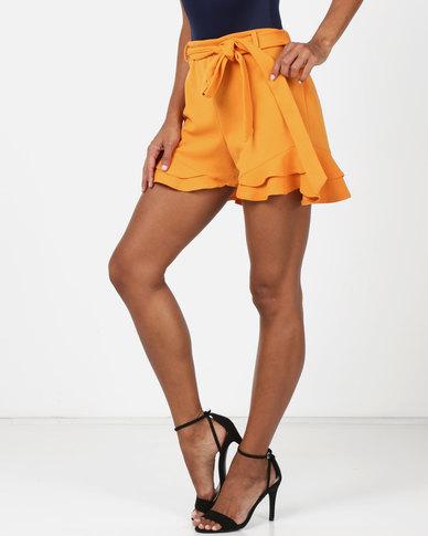 Legit Frill Hem Tie Belt Knit Shorts Mustard