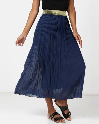 Legit Pleated Midi Skirt Navy