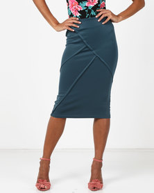 Legit Panelled Pencil Skirt Teal