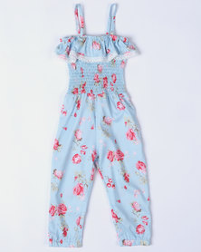 Bugsy Boo Floral Jumpsuit Blue