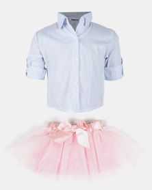 Bugsy Boo Striped Shirt & Tulle Multi