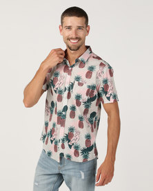 Chester St Hidden Paradise Short Sleeve Shirt off White With Multi