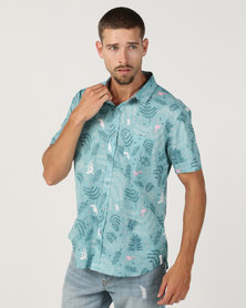 Chester St Creatures Short Sleeve Shirt Teale Green With Pink