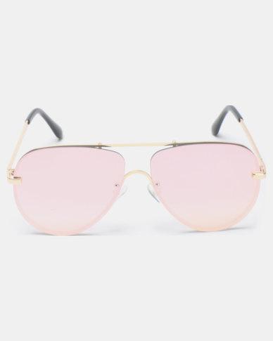 Seduction Gold framed Aviators Pink
