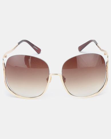Seduction Large Gold Framed Sunglasses Brown