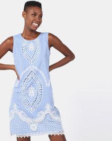 Queenspark Embroidery Design Roundneck Woven Sleeveless Dress Blue