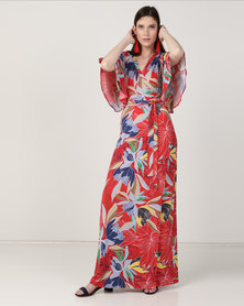 Chica-Loca Short Sleeve Wrap Floral Print Maxi Dress Red