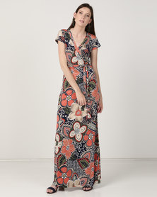 Chica-Loca Short Sleeve Paisley Print Wrap Maxi Dress Multi