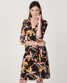 Chica-Loca 3/4 Sleeve Printed Knee Length Dress Black