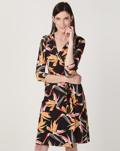 224c7b6139b3 Chica-Loca 3/4 Sleeve Printed Knee Length Dress Black | Zando