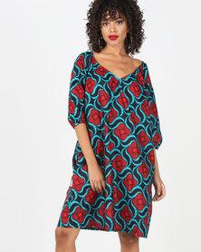 Kieke Raglan Dress Red Multi