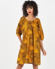 Kieke Raglan Dress Yellow Multi