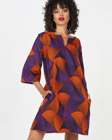 Kieke Kaftan Multi Purple/Orange Multi