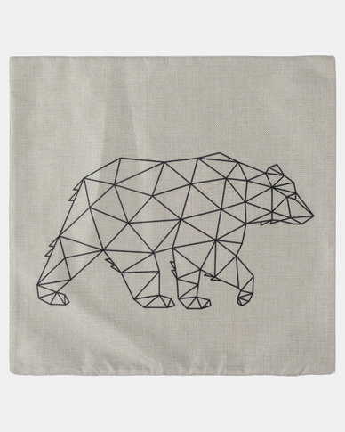 Royal T Bear Linen Cushion Cover Brown