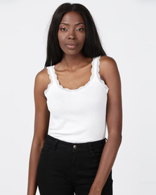 Brave Soul Rib Vest With Lace Cream