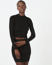 Brave Soul Ribbed Skirt And Jumper Set Black