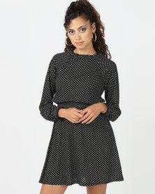 Brave Soul Long Sleeve Dress With Ruffle Neck Black