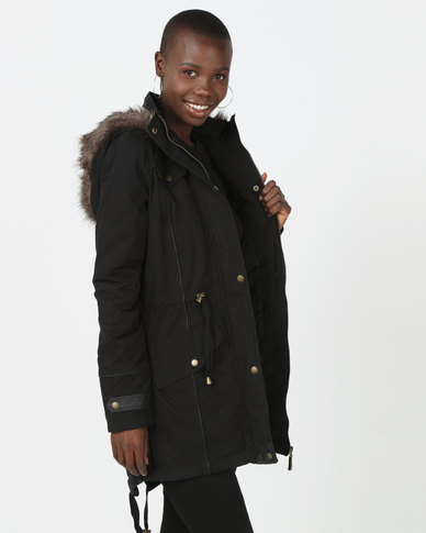Brave Soul Cotton Twill Parka Coat Black