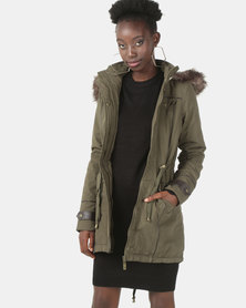 Brave Soul Cotton Twill Parka Coat Khaki