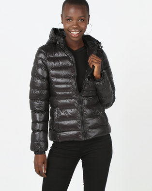 Brave Soul Padded Hooded Jacket Black