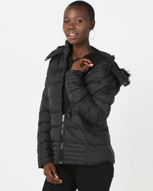 Brave Soul Short Padded Jacket With Fixed Hood Black