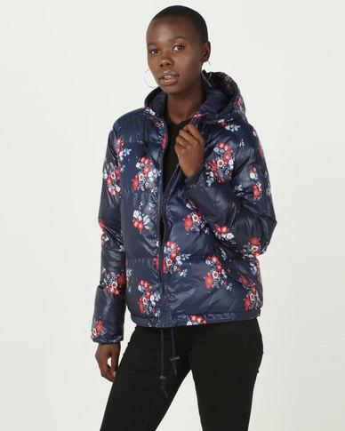 Brave Soul Padded Printed Jacket Navy
