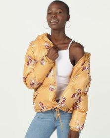 Brave Soul Padded Printed Jacket Mustard