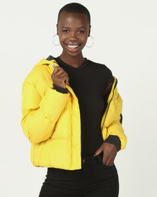 Brave Soul Short Padded Jacket Bright Yellow