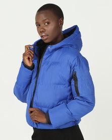 Brave Soul Short Padded Jacket Cobalt Blue
