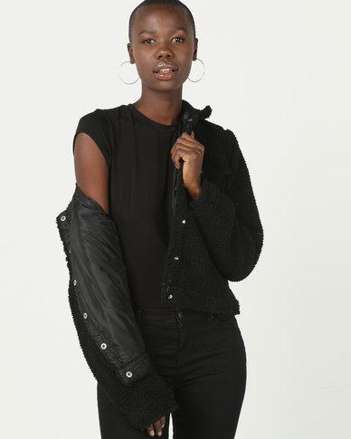 Brave Soul Borg Fleece Western Style Jacket Black