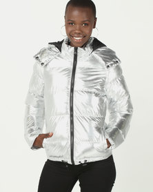 Brave Soul Metallic PP Padded Short Jacket Silver