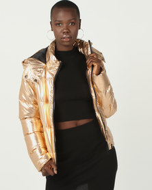 Brave Soul Metallic PP Padded Short Jacket Rose Gold