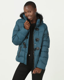 Brave Soul Padded Jacket With Toggle With Hood Teal