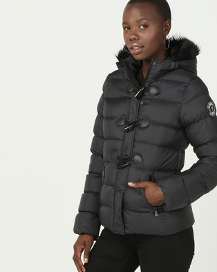 Brave Soul Padded Jacket With Toggle With Hood Black