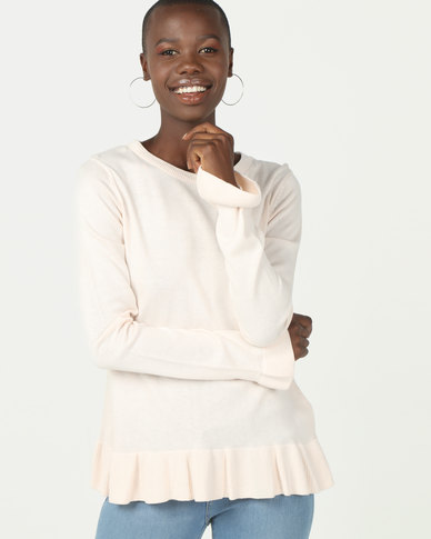 Brave Soul Peplum Jumper With Flute Sleeve Oyster