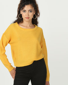 Brave Soul Boxy Scoop Neck Jumper Gold