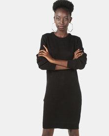 Brave Soul Crew Neck Long Sleeve Dress Black
