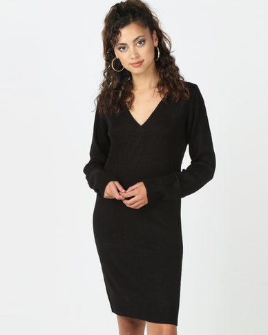 Brave Soul V Neck Long Sleeve Dress Black