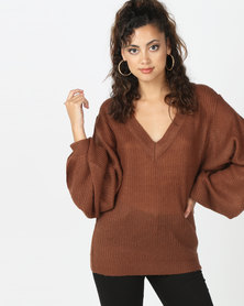 Brave Soul Lightweight V Neck Ribbed Jumper Mocca