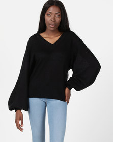 Brave Soul Lightweight V Neck Ribbed Jumper Black