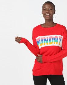 Brave Soul Funday Jumper Red Multi