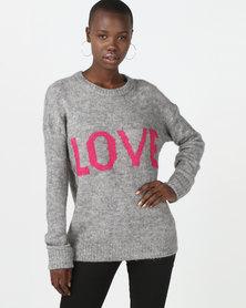 Brave Soul Loose Fit Love Jumper Grey