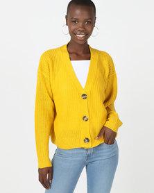 Brave Soul Short Button Through Fisherman Cardigan Mustard