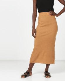 Brave Soul Ribbed Maxi Skirt Camel
