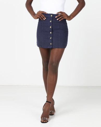 Brave Soul Button Through A Line Skirt Navy