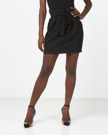 Brave Soul Pleated Skirt With Tie Waist Black