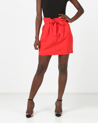 Brave Soul Pleated Skirt With Tie Waist Red