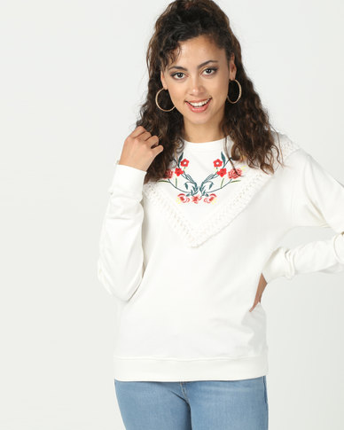 Brave Soul Sweatshirt With Embroidery White