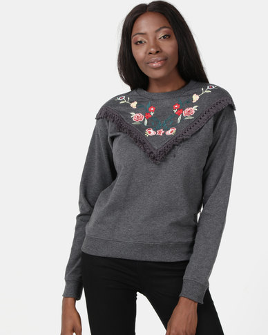 Brave Soul Sweatshirt With Embroidery Charcoal