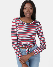 Brave Soul Long Sleeve Top With Tie Up Detail Stripe Red